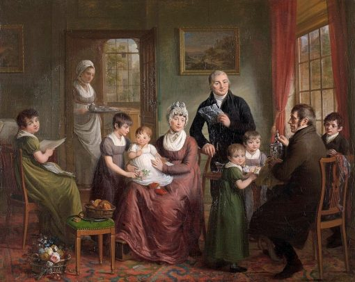 Portrait of the Family of Adriaan Bonebakker with Dirk L. Bennewitz | Adriaan de Lelie | Oil Painting
