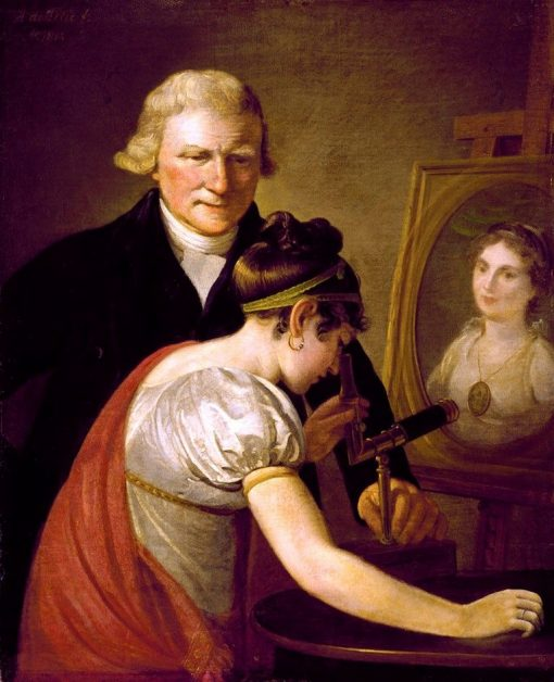 John Anthony van Hemert (1749-1822) and a Niece of the Painter Looking in the Angle Viewer | Adriaan de Lelie | Oil Painting