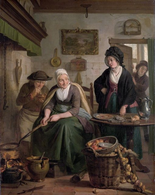 Woman Baking Pancakes | Adriaan de Lelie | Oil Painting