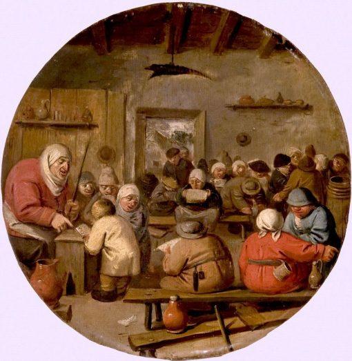 Interior of a School   Adriaen Brouwer   Oil Painting