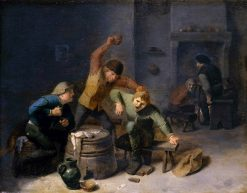 Peasants Brawling over Cards | Adriaen Brouwer | Oil Painting