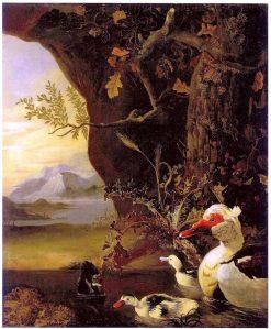 Mountainous landscape with ducks   Adriaen Coorte   Oil Painting