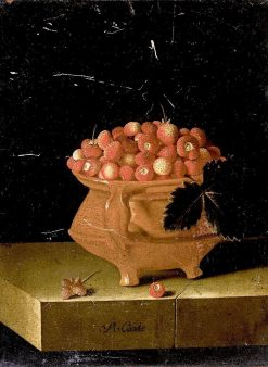 Still Life with a Bowl of Strawberries | Adriaen Coorte | Oil Painting