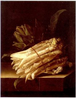 Still Life with Asparagus and Artichoke | Adriaen Coorte | Oil Painting