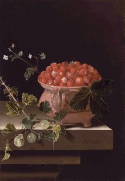 Still Life with a Bowl of Strawberries and a Spray of Gooseberries | Adriaen Coorte | Oil Painting