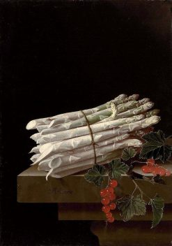 Asparagus and Red Currants on a Stone Ledge   Adriaen Coorte   Oil Painting