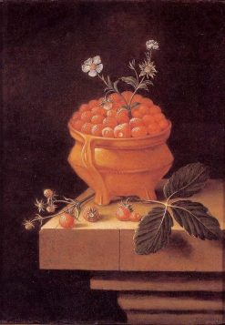 Still Life with a Bowl of Strawberries on a Stone Table | Adriaen Coorte | Oil Painting