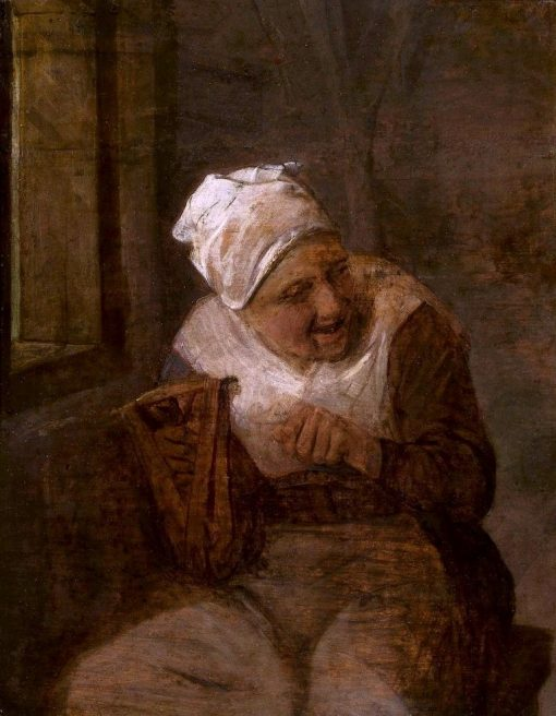A Woman Spinning by the Window | Adriaen van Ostade | Oil Painting