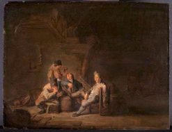 Four Peasants Drinking and Smoking at an Inn | Adriaen van Ostade | Oil Painting