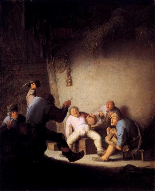 Peasants Drinking and Making Music in a Barn | Adriaen van Ostade | Oil Painting