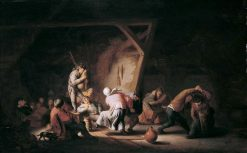 Dancing Peasants with a Bagpiper in an Interior   Adriaen van Ostade   Oil Painting