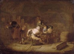 Tavern Interior with Peasants   Adriaen van Ostade   Oil Painting