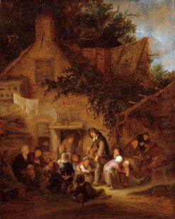 The Organ-Grinder Outside a Cottage | Adriaen van Ostade | Oil Painting