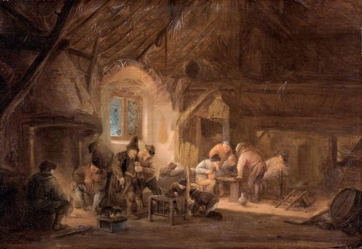 Peasants Drinking and Playing Backgammon in an Interior   Adriaen van Ostade   Oil Painting
