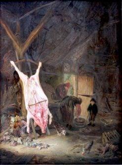 Slaughtered Pig in a Barn   Adriaen van Ostade   Oil Painting