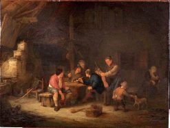 Peasant Company in an Interior with a Man with a vVolin | Adriaen van Ostade | Oil Painting