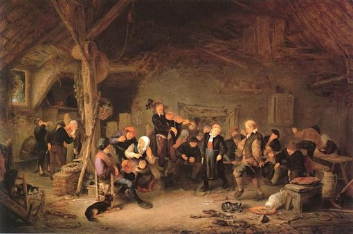 Dancing Farmers in an Inn   Adriaen van Ostade   Oil Painting