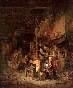 Peasant Family by a Hearth | Adriaen van Ostade | Oil Painting