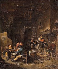 Tavern Interior with Peasants Playing Cards