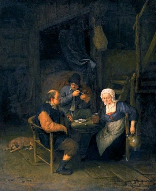 An Interior with Two Boors and a Woman Conversing