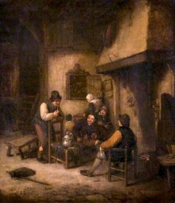 Interior with Peasants by a Fire | Adriaen van Ostade | Oil Painting