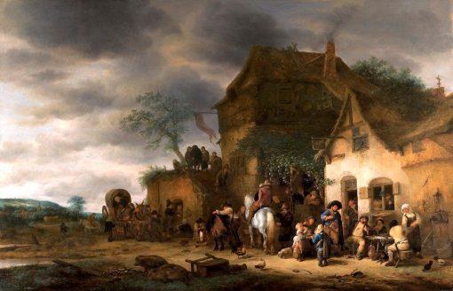 Travellers Halted at a Country Inn | Adriaen van Ostade | Oil Painting