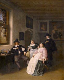 Self Portrait of Adriaen van Ostade with the De Goyer family | Adriaen van Ostade | Oil Painting