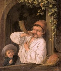 A Baker Blowing his Horn | Adriaen van Ostade | Oil Painting