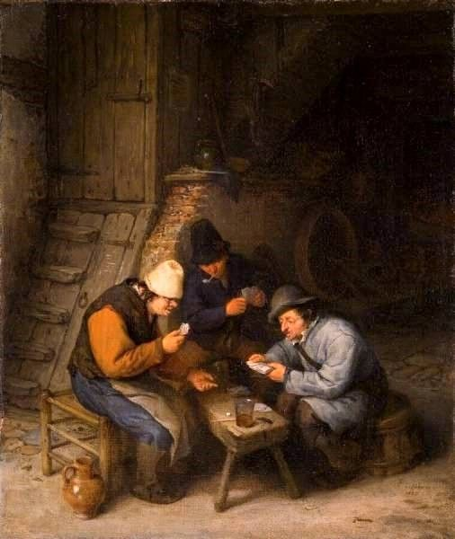 Peasants Playing Cards   Adriaen van Ostade   Oil Painting