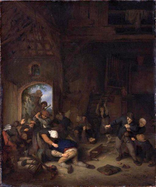 Peasants Fighting at the Village Inn | Adriaen van Ostade | Oil Painting
