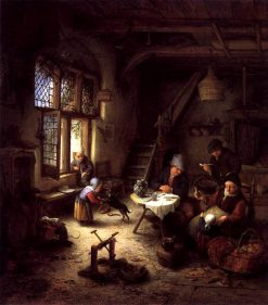 A Peasant Family in a Cottage Interior | Adriaen van Ostade | Oil Painting