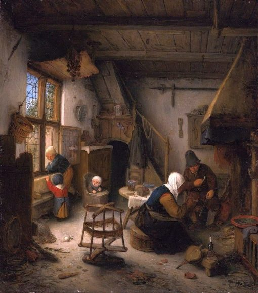 A Peasant Family in a Cottage | Adriaen van Ostade | Oil Painting