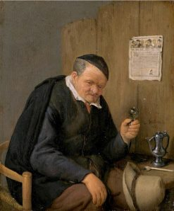 Old Man Holding a Wine Glass | Adriaen van Ostade | Oil Painting