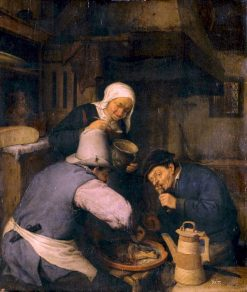 Two Peasants Feasting | Adriaen van Ostade | Oil Painting