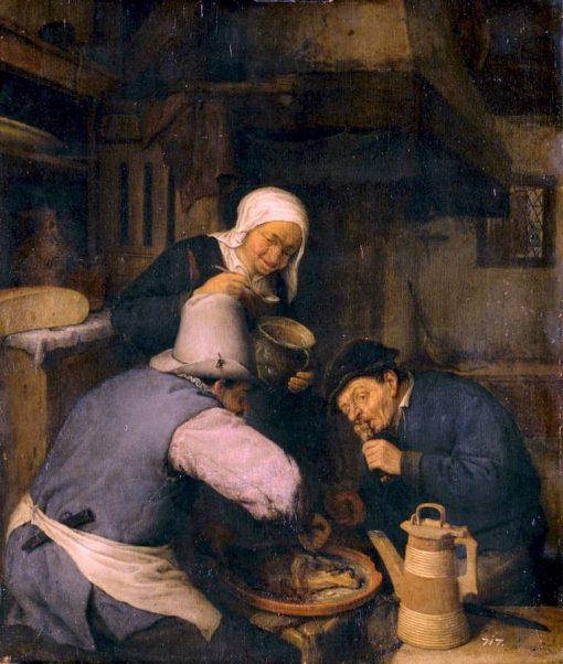 Two Peasants Feasting | Adriaen van Ostade | Oil Painting