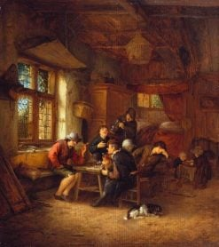 Interior of a Tavern with Five Peasants and a Woman
