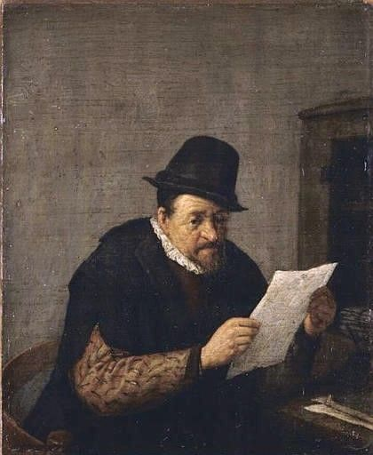 A Man Reading a Paper | Adriaen van Ostade | Oil Painting