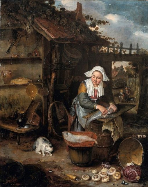 A Housewife Cleaning Fish in a Courtyard | Adriaen van Ostade | Oil Painting