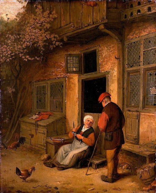 A Woman Gutting Herring in front of Her House | Adriaen van Ostade | Oil Painting