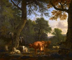 A Woodland Glade with Animals and Figures | Adriaen van de Velde | Oil Painting
