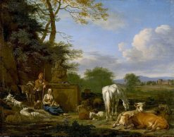 Arcadian Landscape with Resting Herdsmen and Cattle   Adriaen van de Velde   Oil Painting