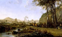 Rider and Herdsman in an Imaginary Landscape with a Ruined Castle and Distant Town | Aelbert Cuyp | Oil Painting