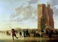 Ice Scene before the Huis te Merwede near Dordrecht | Aelbert Cuyp | Oil Painting