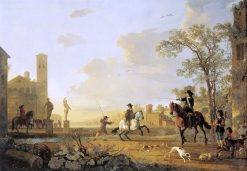 Landscape with Horse Trainers | Aelbert Cuyp | Oil Painting