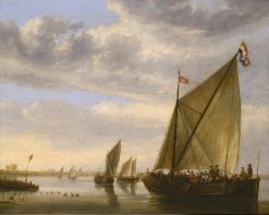 River Scene with a Ferry Boat | Aelbert Cuyp | Oil Painting