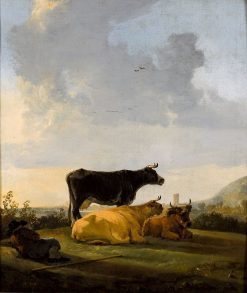 Landscape with Three Cows and a Cowherd | Aelbert Cuyp | Oil Painting