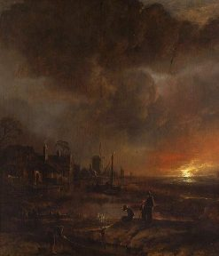 Night Fishing | Aert van der Neer | Oil Painting