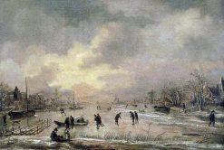 Winter landscape with houses   Aert van der Neer   Oil Painting