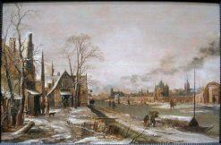 A Village Scene in Winter with a Frozen River | Aert van der Neer | Oil Painting