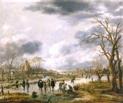 Scene on the Ice outside the Town Walls | Aert van der Neer | Oil Painting